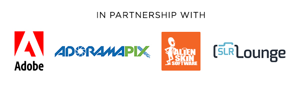 In Partnership with Adobe, AdoramaPix, Alien Skin, and SLR Lounge
