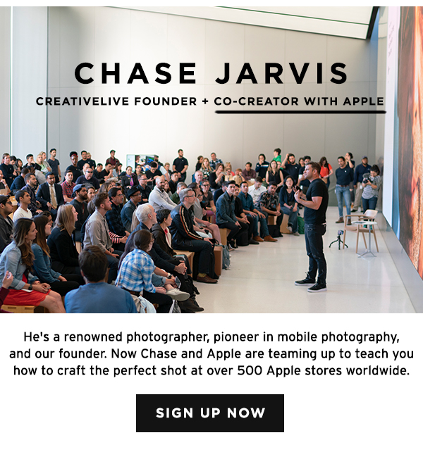 Chase Jarvis and Apple team up to teach you how to craft the perfect shot at over 500 Apple stores worldwide.