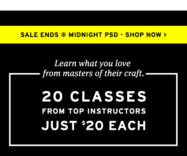 20 classes from top instructors just $20 each